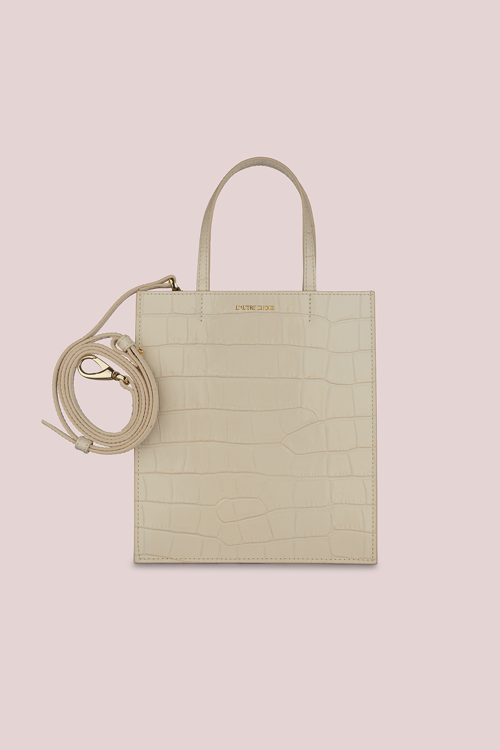 SHOPPING BAG IN MILKY-WHITE CROCODILE-PRINT LEATHER