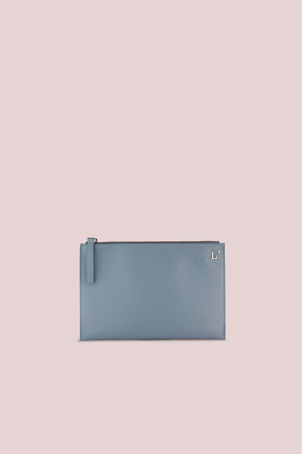 POUCH IN CERULEAN-BLUE LEATHER