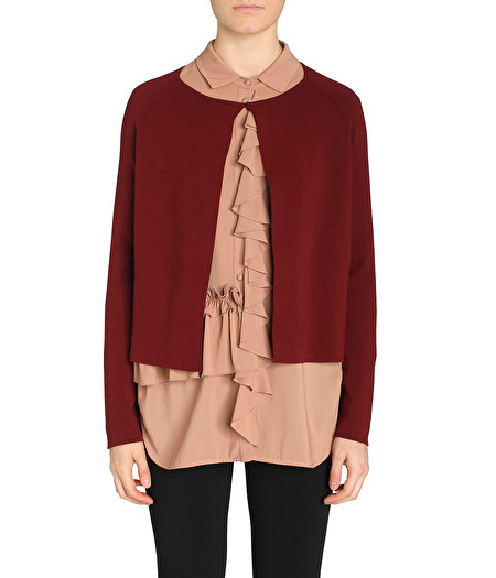 MAROON CARDIGAN WITH BUTTON DETAIL