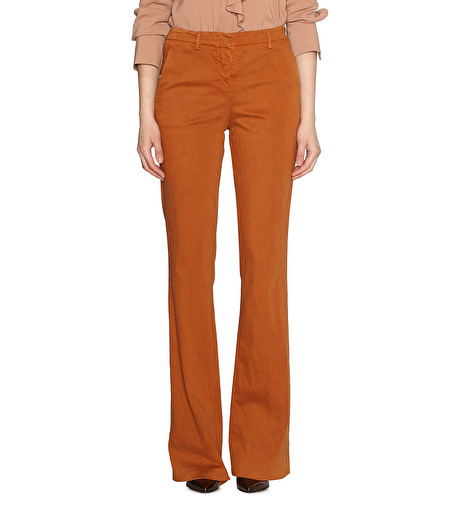 BRANDY COTTON-GABARDINE FLARED TROUSERS