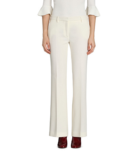 MILK-WHITE WOOL-CREPE FLARED TROUSERS