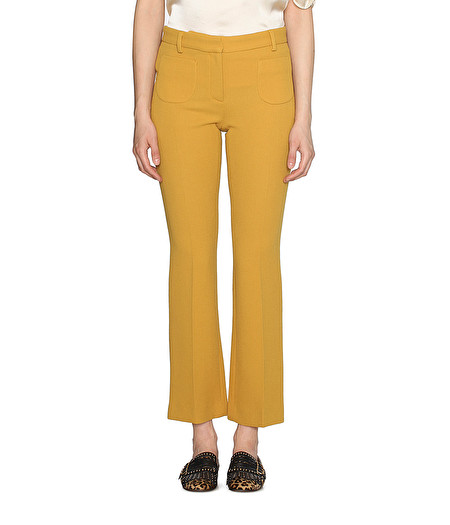 YELLOW BOOT-CUT TROUSERS WITH PATCH POCKETS