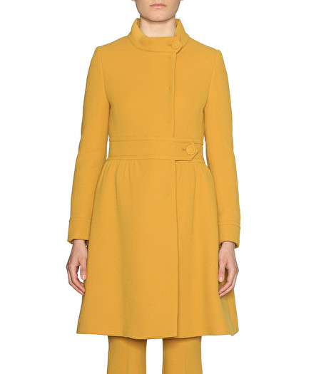 YELLOW COAT WITH BELT DETAIL