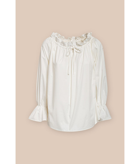 SHIRT IN WHITE POPLIN WITH DRAWSTRING CLOSURE