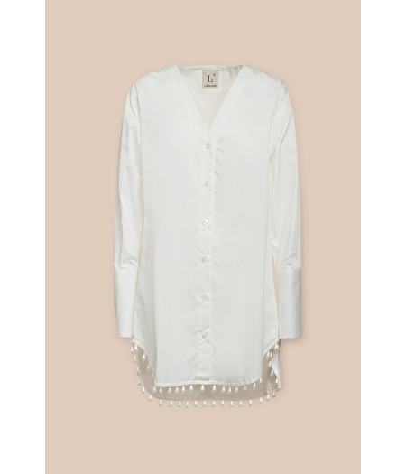 ASYMMETRICAL SHIRT IN WHITE POPLIN