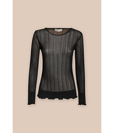 BLACK RIB-KNIT ROUND-NECK SWEATER