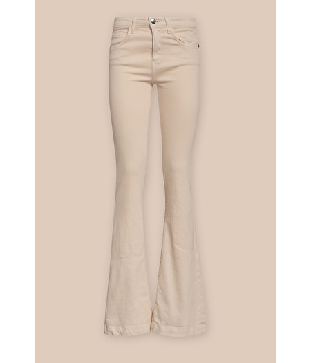 FLARED TROUSERS IN BEIGE GABARDINE DENIM