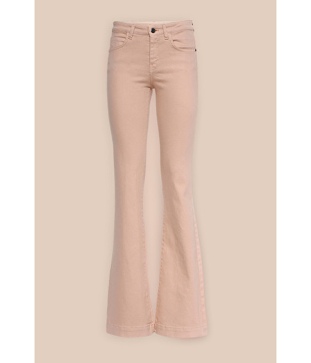 FLARED TROUSERS IN ROSE-PINK GABARDINE DENIM