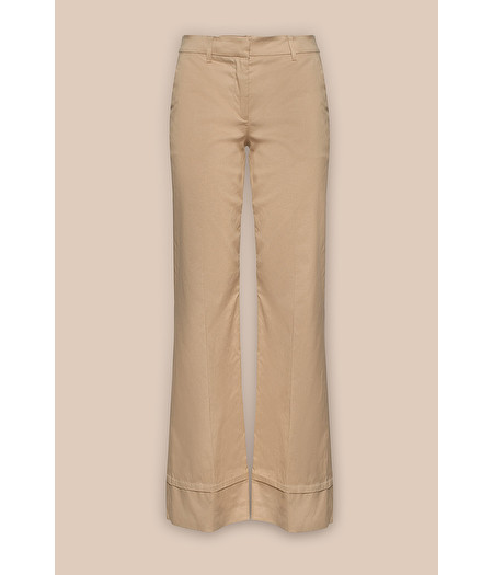 TROUSERS WITH TURN-UPS IN CAMEL-HUED COTTON TWILL