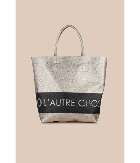 LOGOED SHOPPING BAG IN GOLD