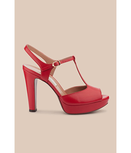 SANDALO T-BAR PLATFORM IN NAPPA ROUGE