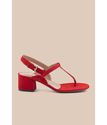 RED-SUEDE THONG SANDAL