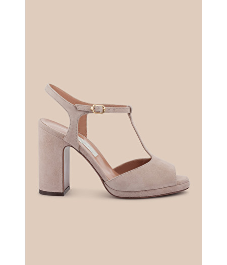 BIRCH SUEDE T-BAR SANDAL WITH MINI PLATFORM