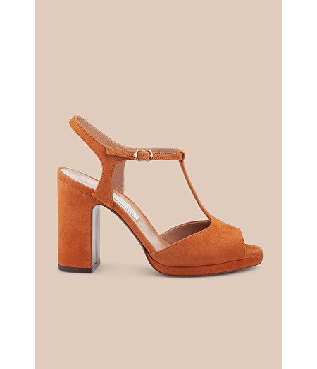 RUST SUEDE T-BAR SANDAL WITH MINI PLATFORM