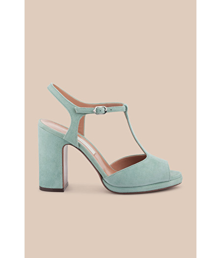 MARINE GREEN SUEDE T-BAR SANDAL WITH MINI PLATFORM