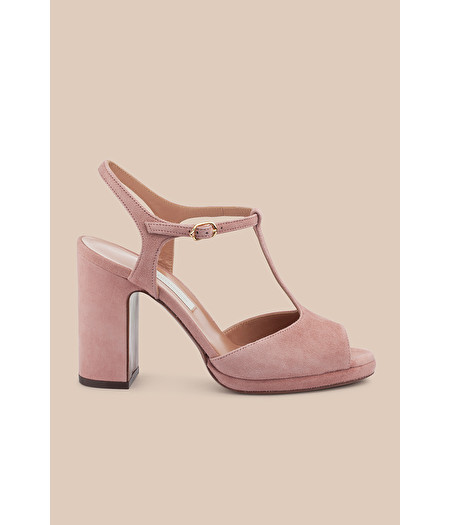 ANTIQUE ROSE SUEDE T-BAR SANDAL WITH MINI PLATFORM