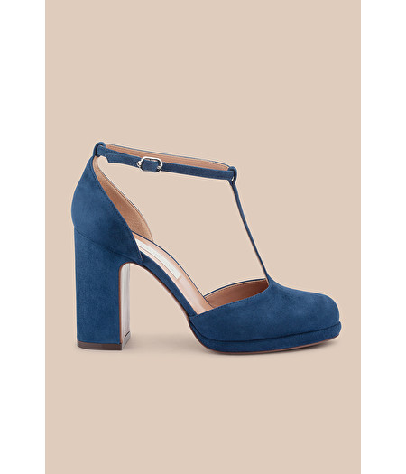 BLUE SUEDE D'ORSAY COURT SHOE WITH MINI PLATFORM