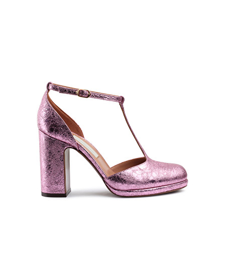 D'ORSAY COURT SHOE IN ROSE-PINK CRACKLÉ