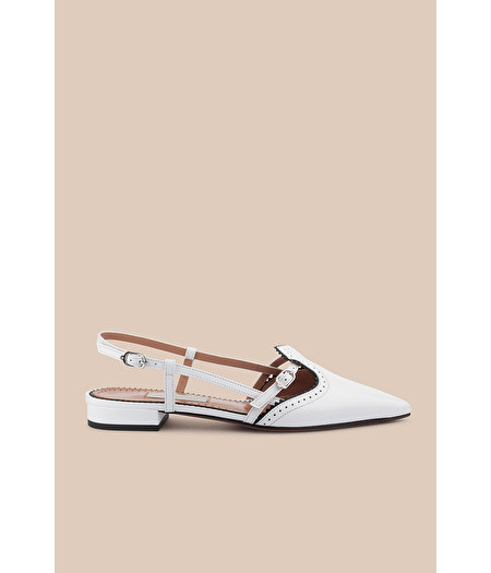 WHITE LEATHER BROGUE BALLERINA