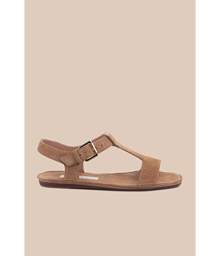 FLAT SANDAL IN TAN-COLOURED SPLIT LEATHER