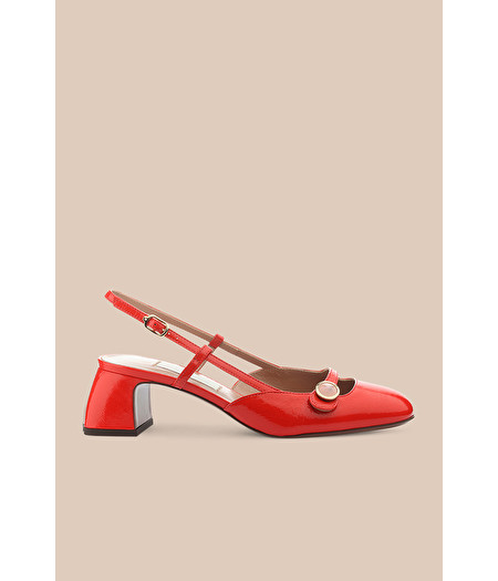 RED PATENT LEATHER SLINGBACK COURT SHOE