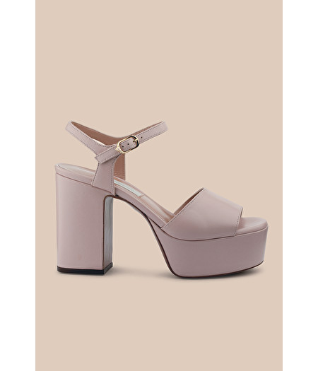 PLATFORM SANDAL IN ROSE-PINK NAPPA LEATHER