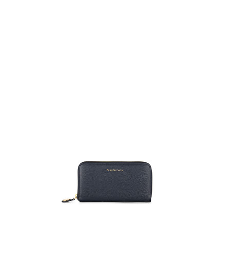 NAVY MERINO ZIP-AROUND WALLET