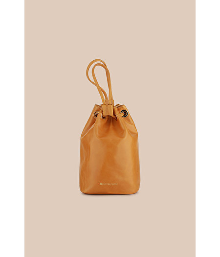 MUSTARD LEATHER BUCKET BAG WITH DRAWSTRING
