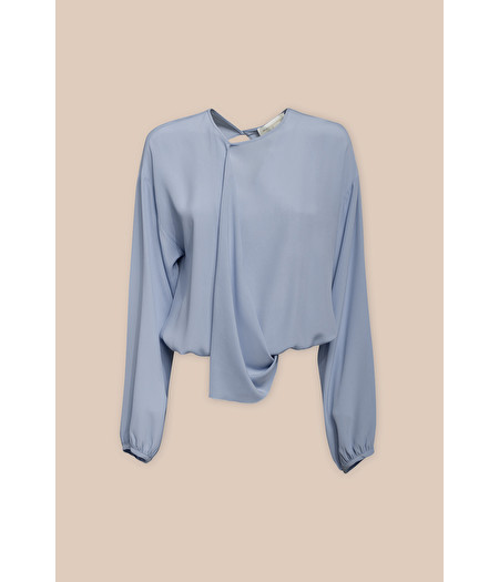 SOFT BLOUSE WITH RUFFLE IN SKY BLUE