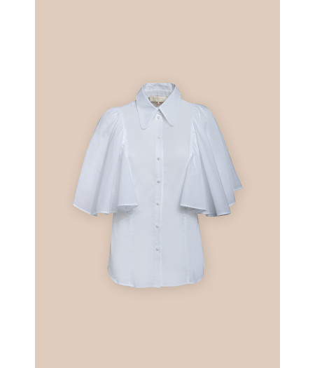 WHITE BLOUSE WITH FAN SLEEVES