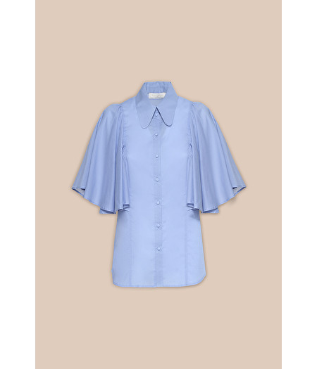 SKY-BLUE BLOUSE WITH FAN SLEEVES