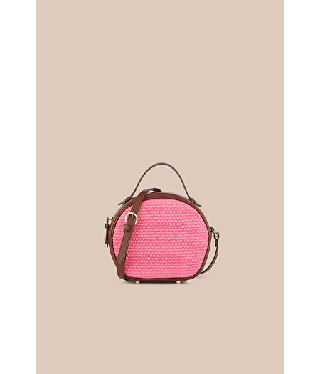 MINI CAMERA CASE IN ROSE-PINK RAFFIA