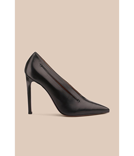 BLACK LEATHER COURT SHOE WITH CUT-OUT DETAILS