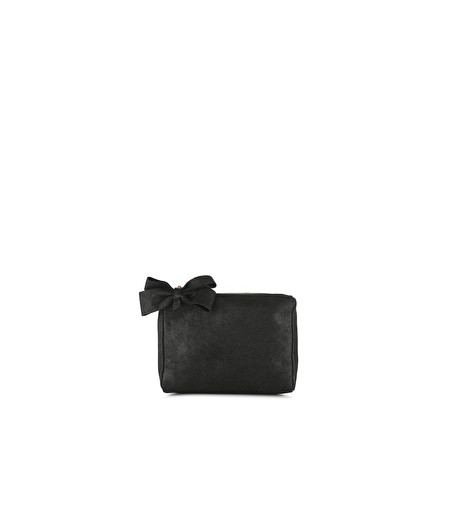 SMALL BLACK LEATHER BEAUTY CASE WITH BOW DETAIL