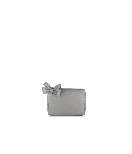 SMALL SILVER LEATHER BEAUTY CASE WITH BOW DETAIL