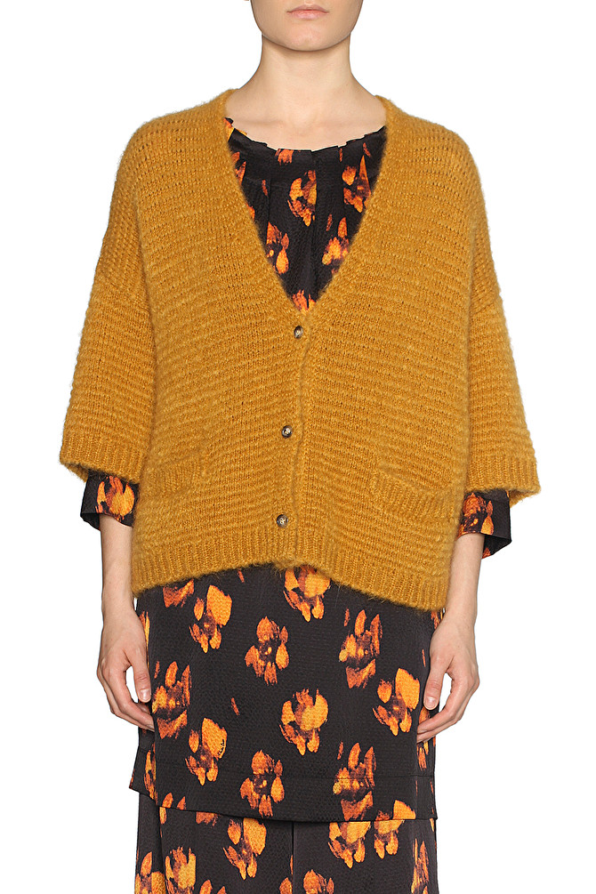 detailed look 18935 6381f MAXI CARDIGAN IN MOHAIR GIALLO