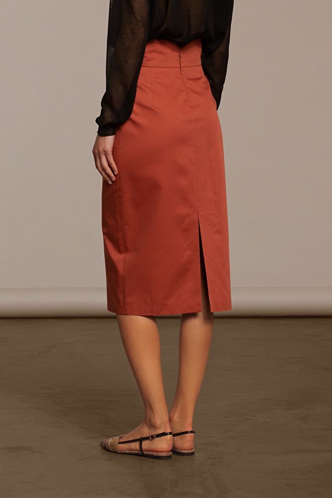 f4b91510f HIGH-WAISTED BRICK-RED COTTON MIDI SKIRT - L'AUTRE CHOSE S.P.A