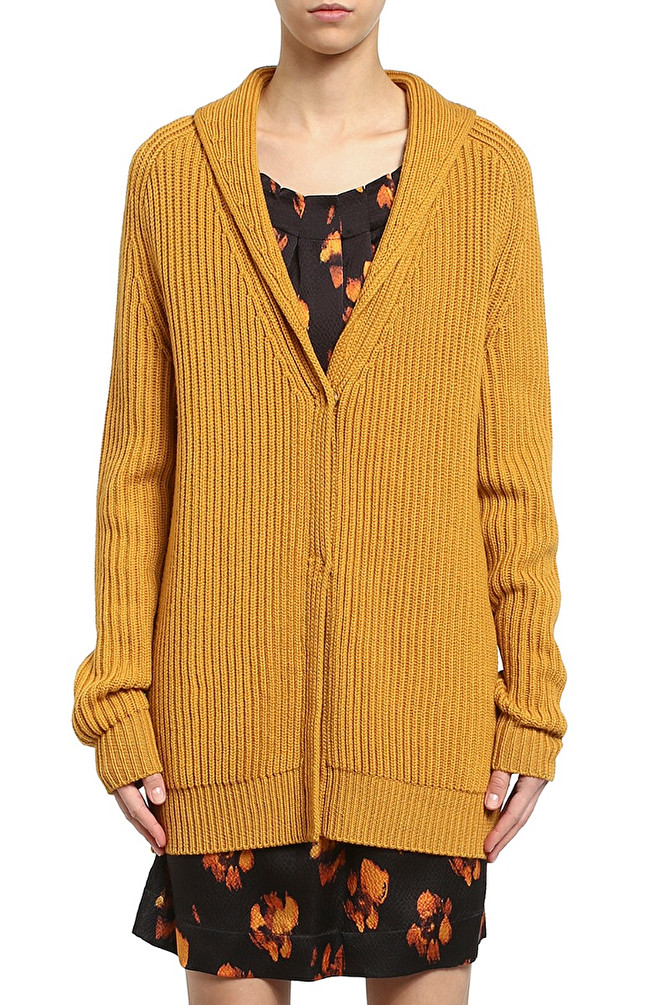 CARDIGAN CON COLLO A SCIALLE GIALLO