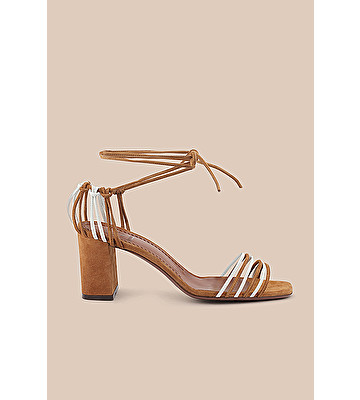 560e87c80199 L AUTRE CHOSE S.P.A - STRAPPY SANDAL IN CIGAR-BROWN SUEDE AND WHITE NAPPA